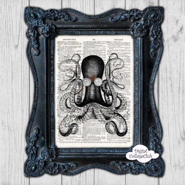 Steampunk Octopus Book Print - Digital Collage Club
