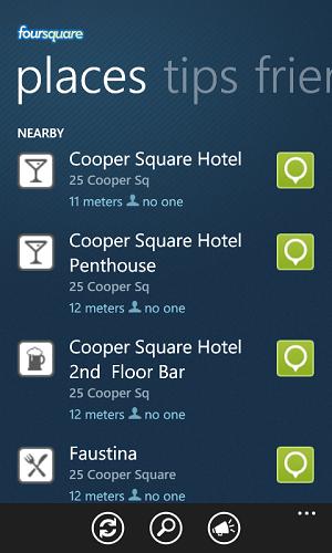 Foursquare App For Windows 7 Phone Mobile Device