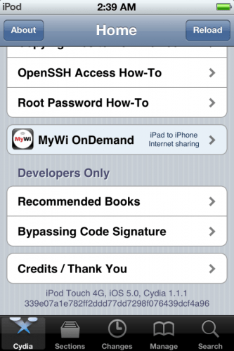 iOS 5 running on iPod Touch and Cydia 1.1.1