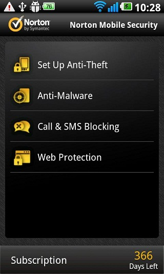 Norton Mobile Security UI For Android