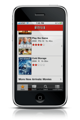 NetFlix App on iPhone