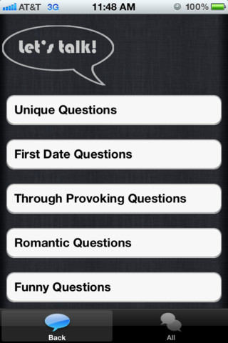 Conversation Starter iPhone App UI