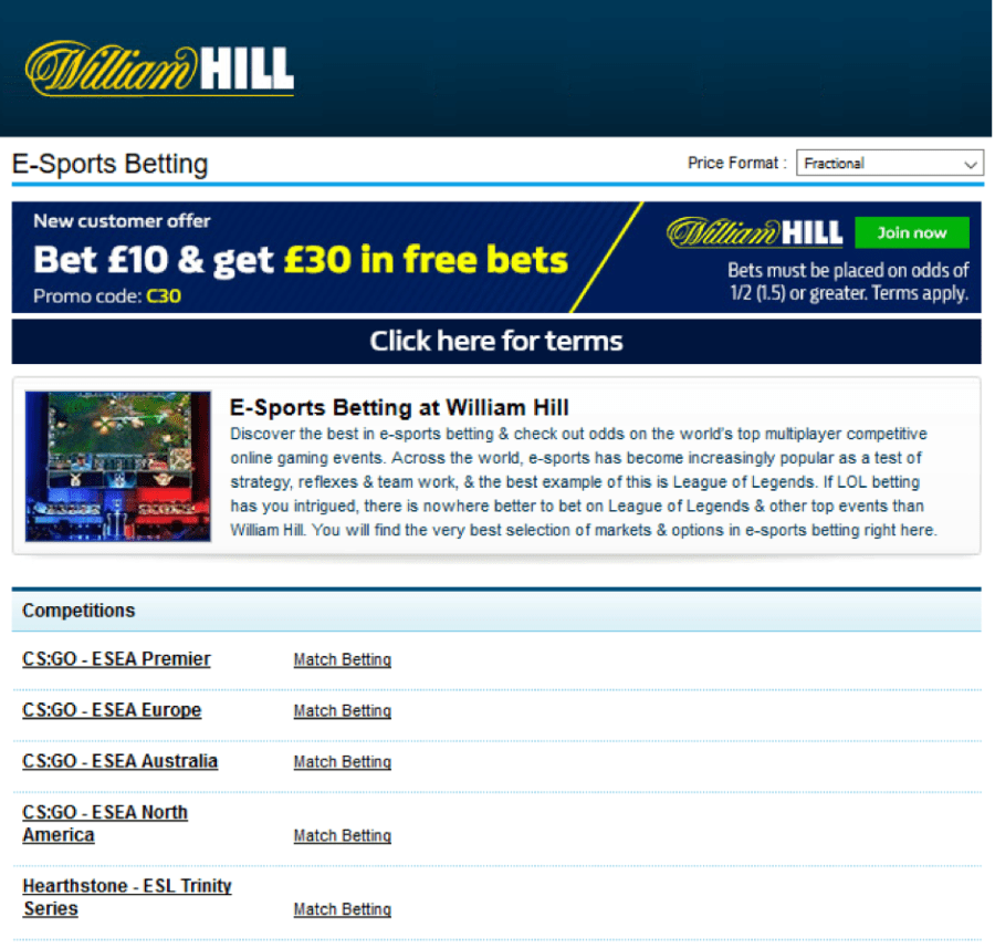 E-sports betting here at William Hill Online