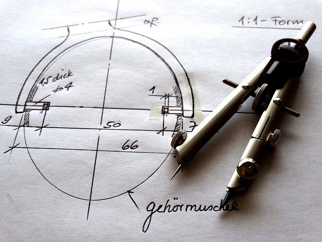 A sample handwritten technical drawing, a skill set which is taught a typical blueprint reading course