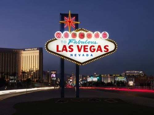 View of the welcome to las vegas sign at night time, sign contractors in california design and fabricate an array of electrical and non electrical signs