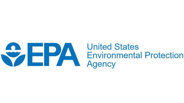logo of the united states environmental protection agency, blue lettering