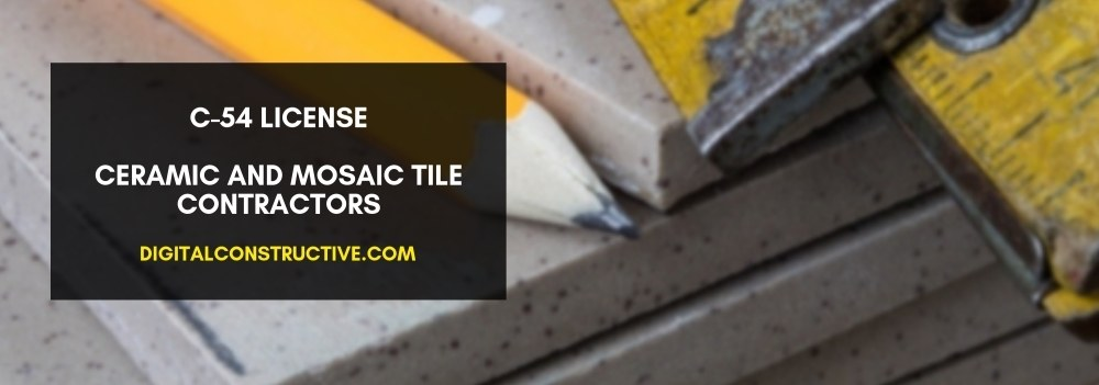featured image shows several tiles with a yellow ruler and yellow pencil laying on top. blog post details the essential information you need to get the C-54 license for ceramic and mosaic tile contractors