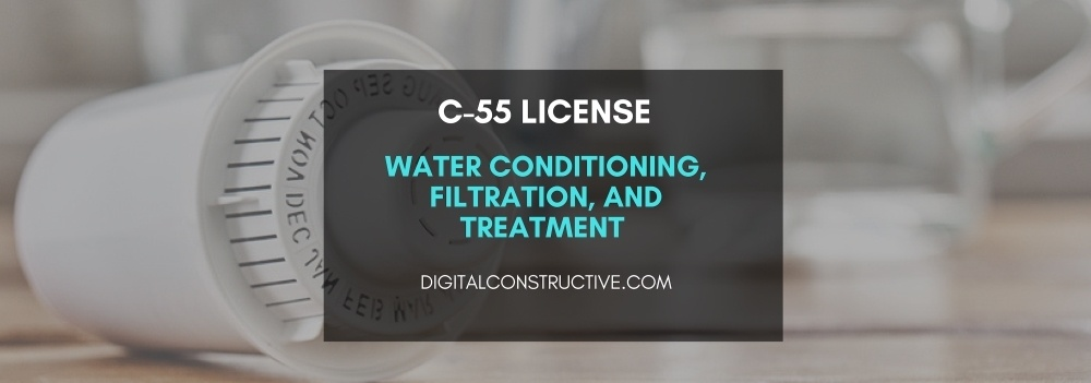 image features a water filter laying on a kitchen counter. blog post covers the information you need to get the C55 license for water conditioning contractors