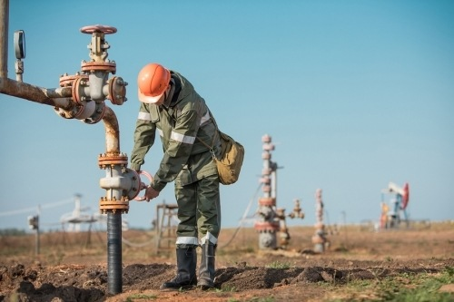 A drilling contractor working on an oil field