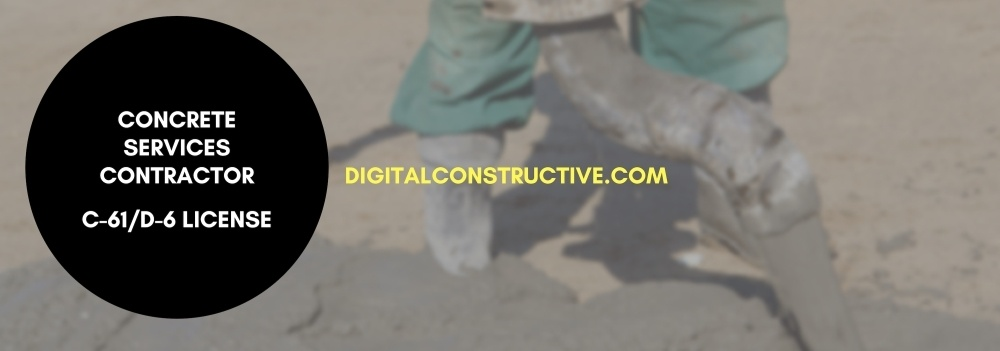 image of a contractor pumping concrete. blog post details how to get the C61/D6 license for concrete services contractor