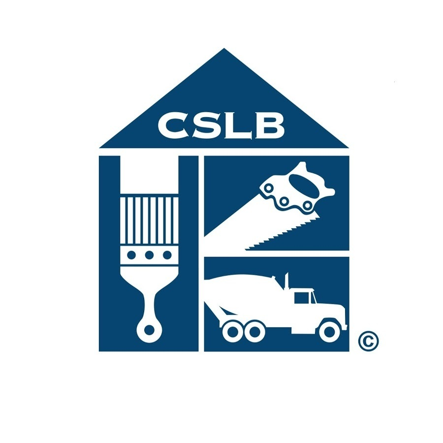 Logo of the CSLB, illustration features a paint brush, hand saw and cement truck with the letters CSLB above in white