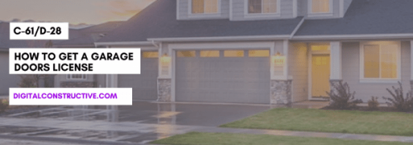 featured image for a blog post about how to get a garage doors license. features the title along with a blurred image of a residential home in the background
