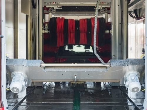 an automatic car wash system. another of the types of machinery that D21 contractors specialize in