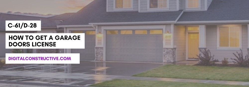 featured image for a blog post detailing how to get a garage door license. image features a picture of a residential home with a garage