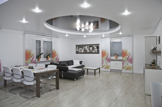 An elegant suspended ceiling in a residential home. A suspended ceiling contractor works in a variety of different settings