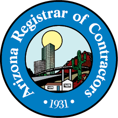 Logo of the Arizona registrar of contractors which are members of the california contractor license reciprocity agreement