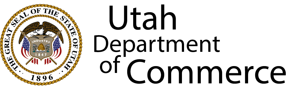 Logo for the Utah Department of Commerce which is the governing agency for contractors in the state of Utah and also part of the california contractor license reciprocity agreement