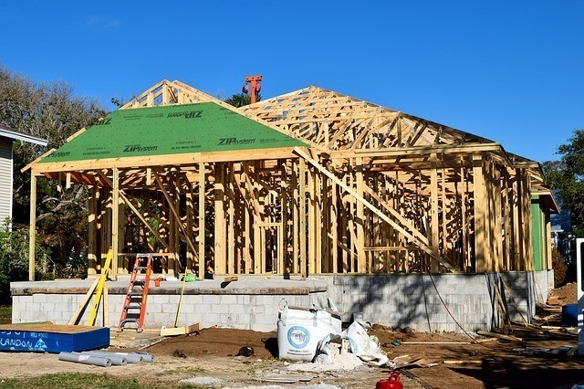 An image of a home in the framing process