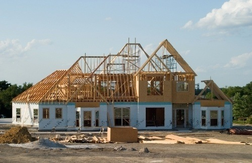 A residential home in the process of framing. general contractors are residential and commercial construction