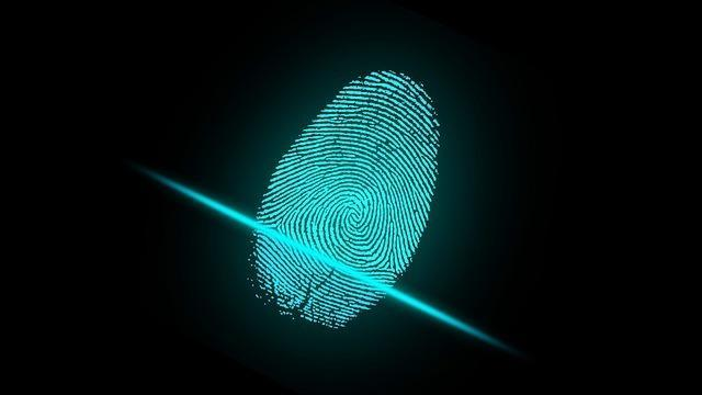 a blue fingerprint scan infront of a black background. be 100% honest on the application when applying for your c-10 license