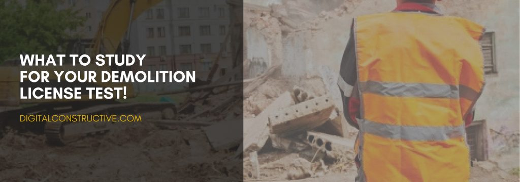 A demolition contractor overseeing a building being demolished. The demolition license test has some key concepts that you must know beforehand, complete guide covers everything you need to know