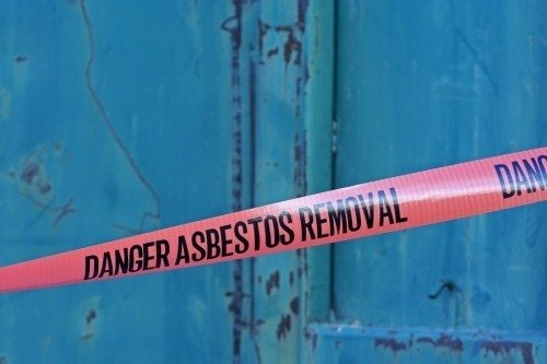 a red tape that blocks off an asbestos abatement sight. To get the asbestos license it is highly recommended that you take practice tests