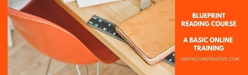 image shows a ruler and brown book laying on top of a table. featured image for a blog post about how to read construction blueprints for contractors