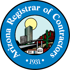 logo of the arizona registrar of contractors, which is the governing agency for licensed roofers in arizona