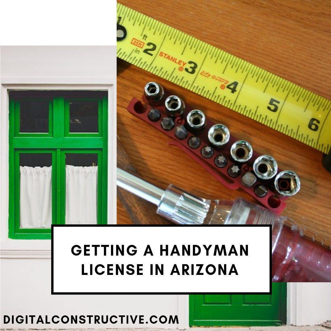image of a green door some tools and a measuring tape. blog breaks down everything you need to know about the handyman license in arizona
