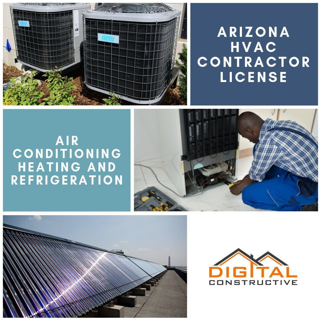 image of two commercial air conditioning systems, a solar panel and a refrigeration expert. blog post breaks down everything you need to know to get the arizona hvac license
