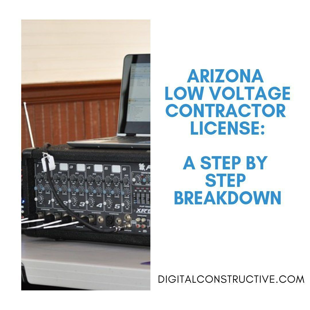 image of a laptop sitting on top of a sound mixing system. guide breaks down everything you need to get the arizona low voltage contractor license