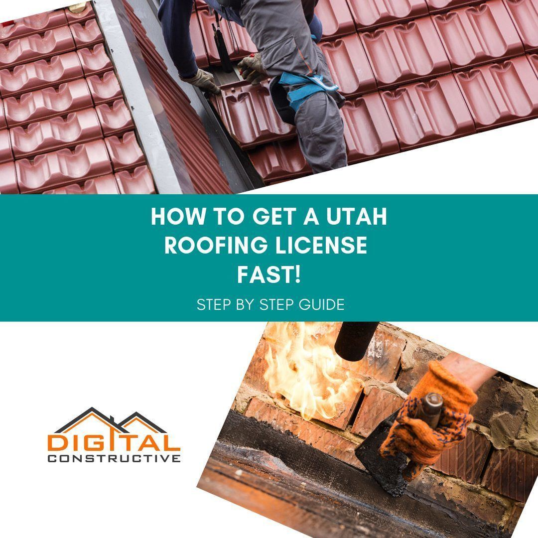 image of roofing contractors using mops and installing shingles. to get a contractor license in utah you must meet basic requirements