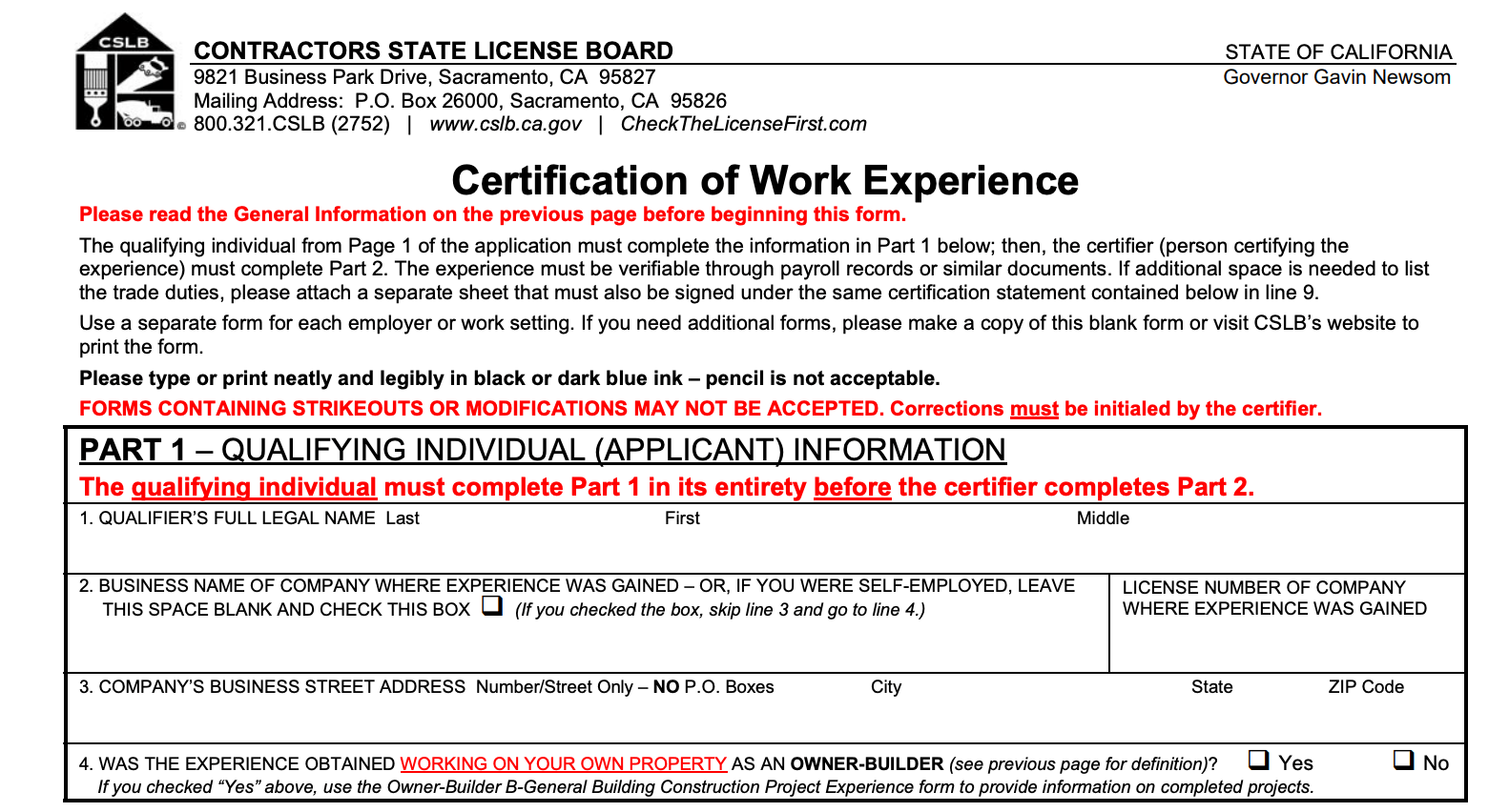 the certification of work experience portion of the california contractor license application