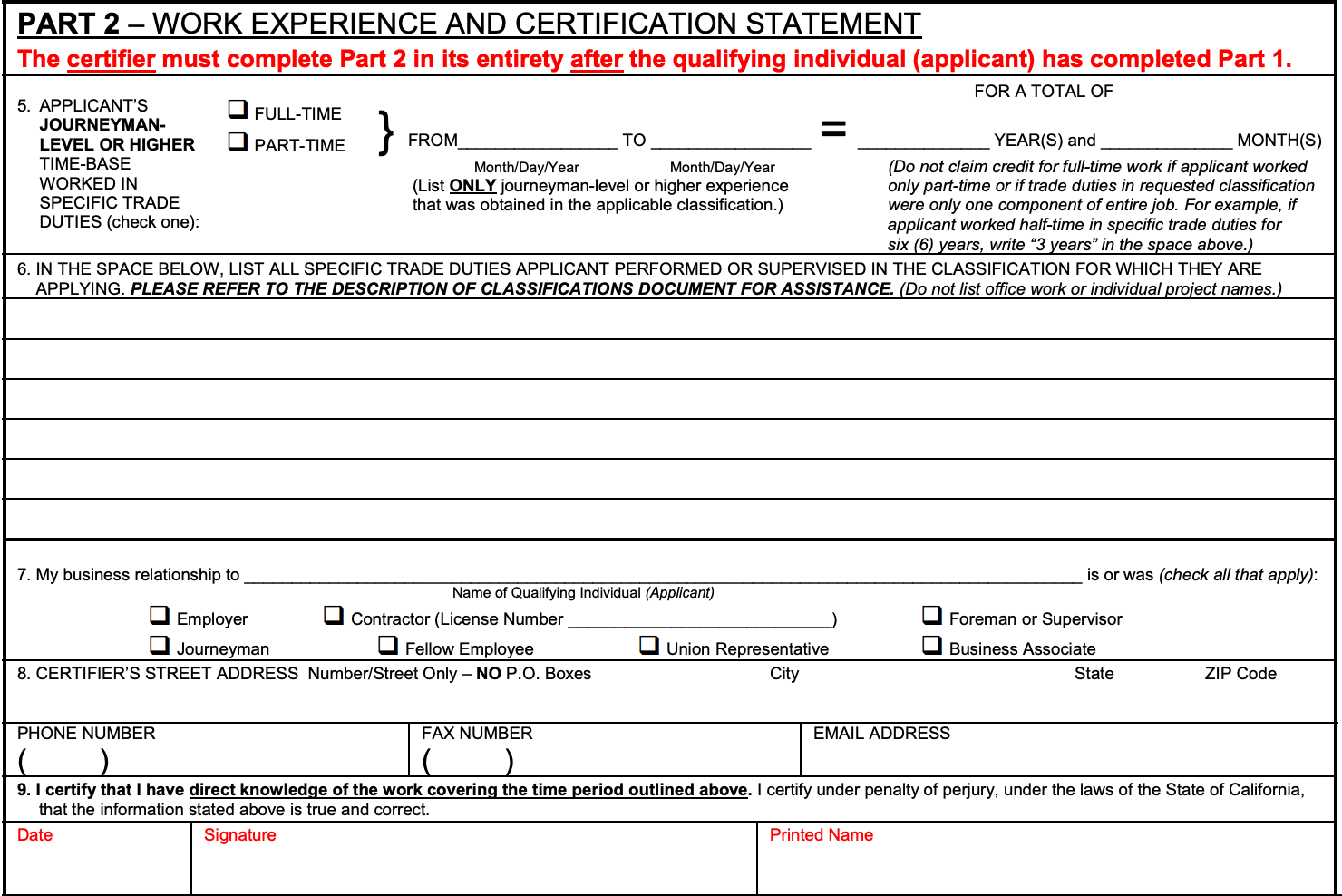 section 2 of the california contractor license application work experience form
