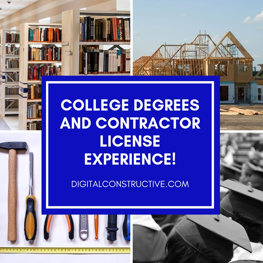 College degree classes and credits are transferable for a certain amount of experience when applying for the california contractor license