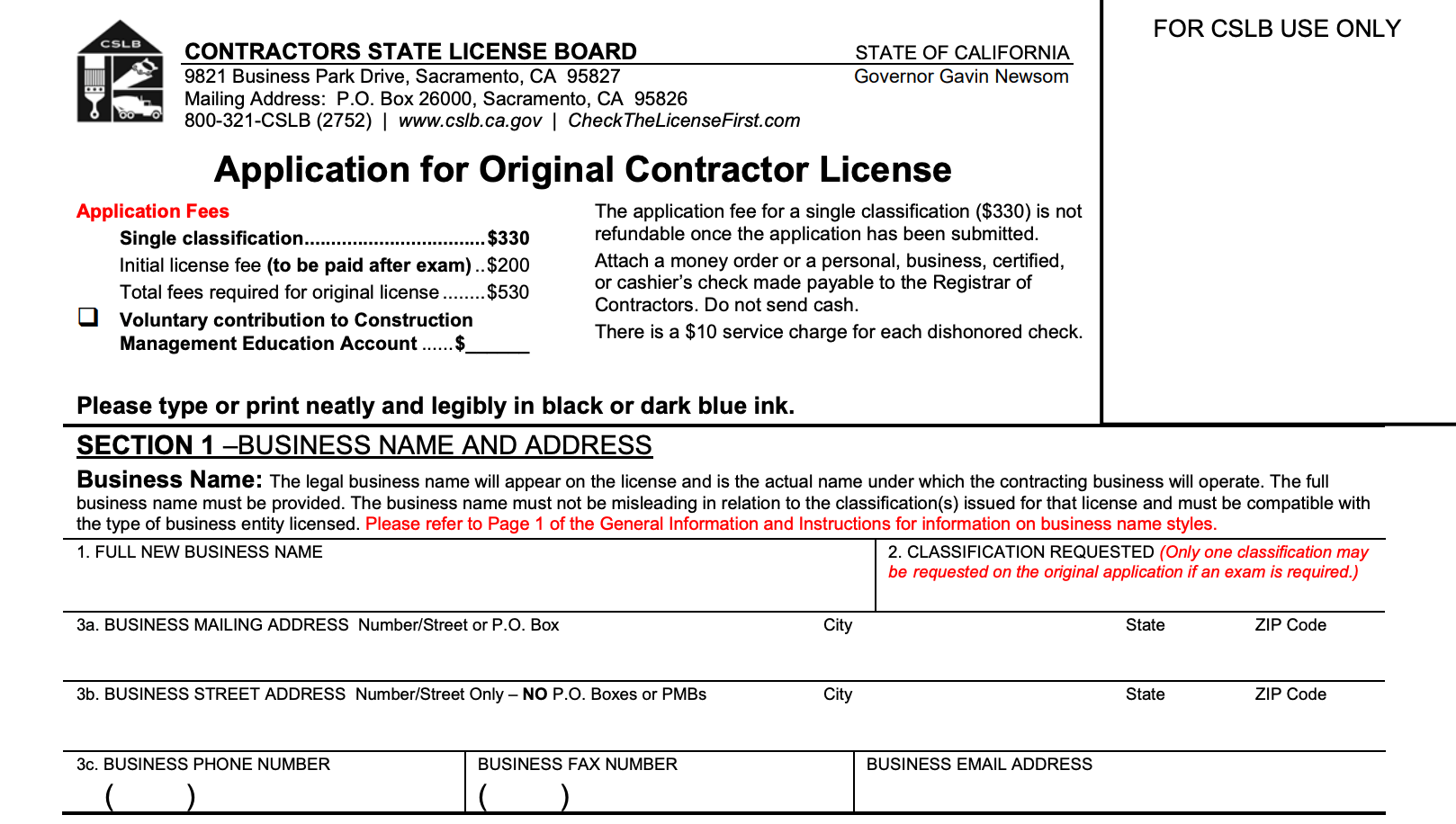 cslb california contractor license application section 1