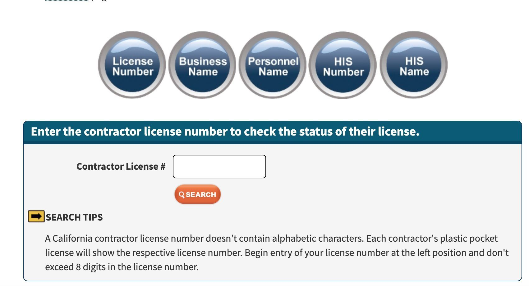 the CSLB allows consumers to check the California contractor license number of certain individuals and business using this tool