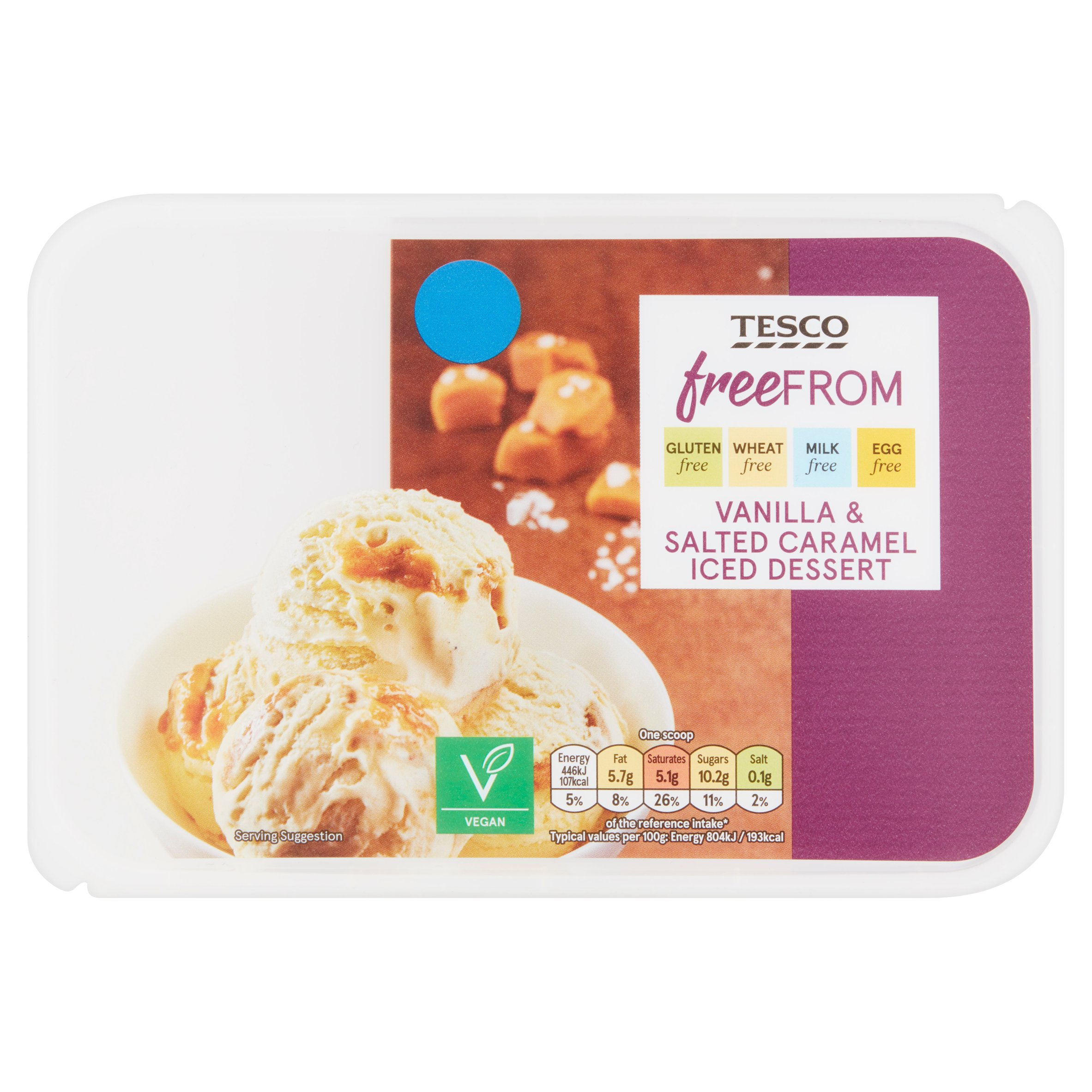 Tesco Free From Salted Caramel Iced Dessert 900Ml