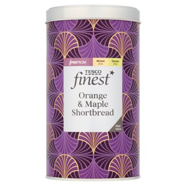Tesco Finest Free From Orange & Maple Shortbread Tin 160G