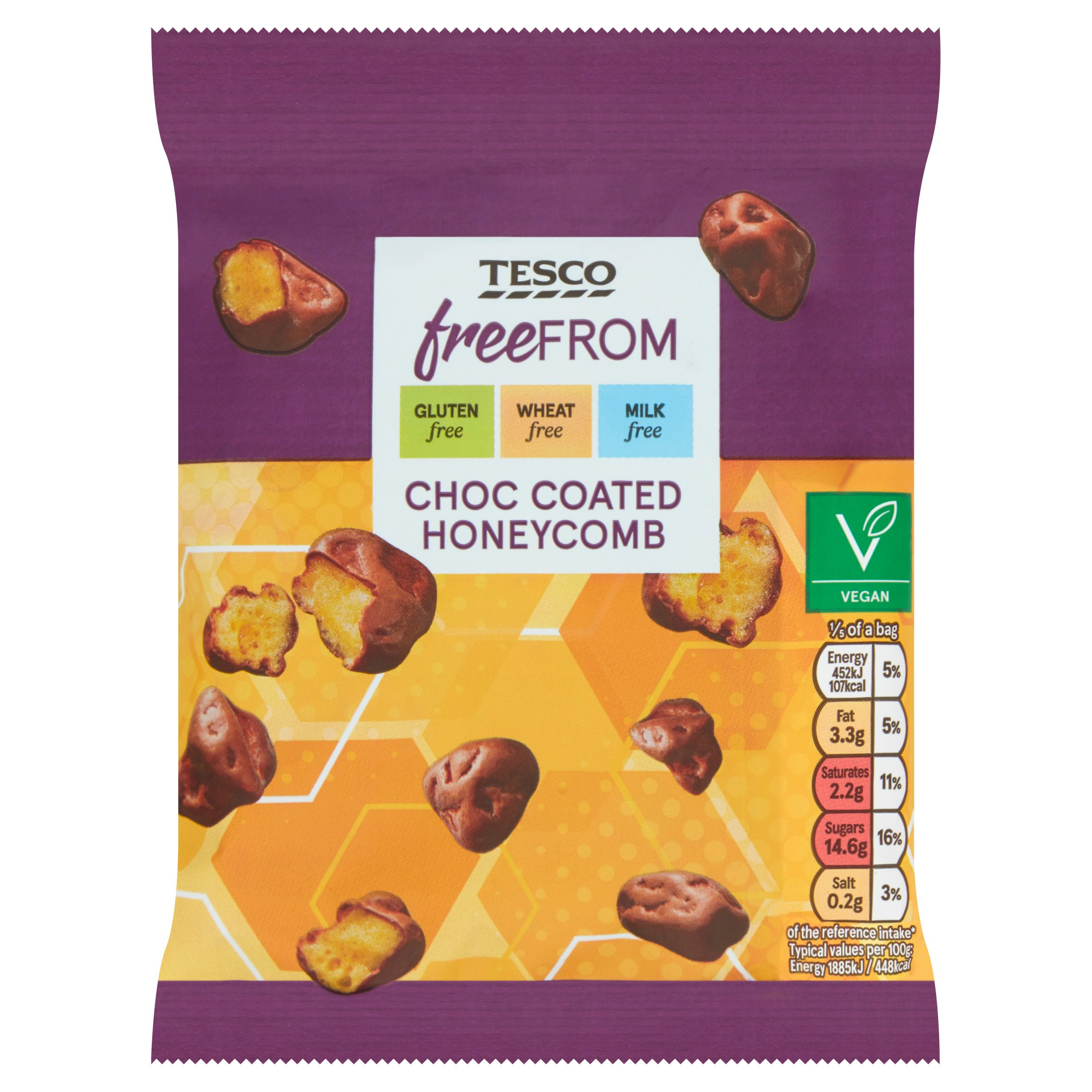 Tesco Free From Chocolate Coated Honeycomb 119G