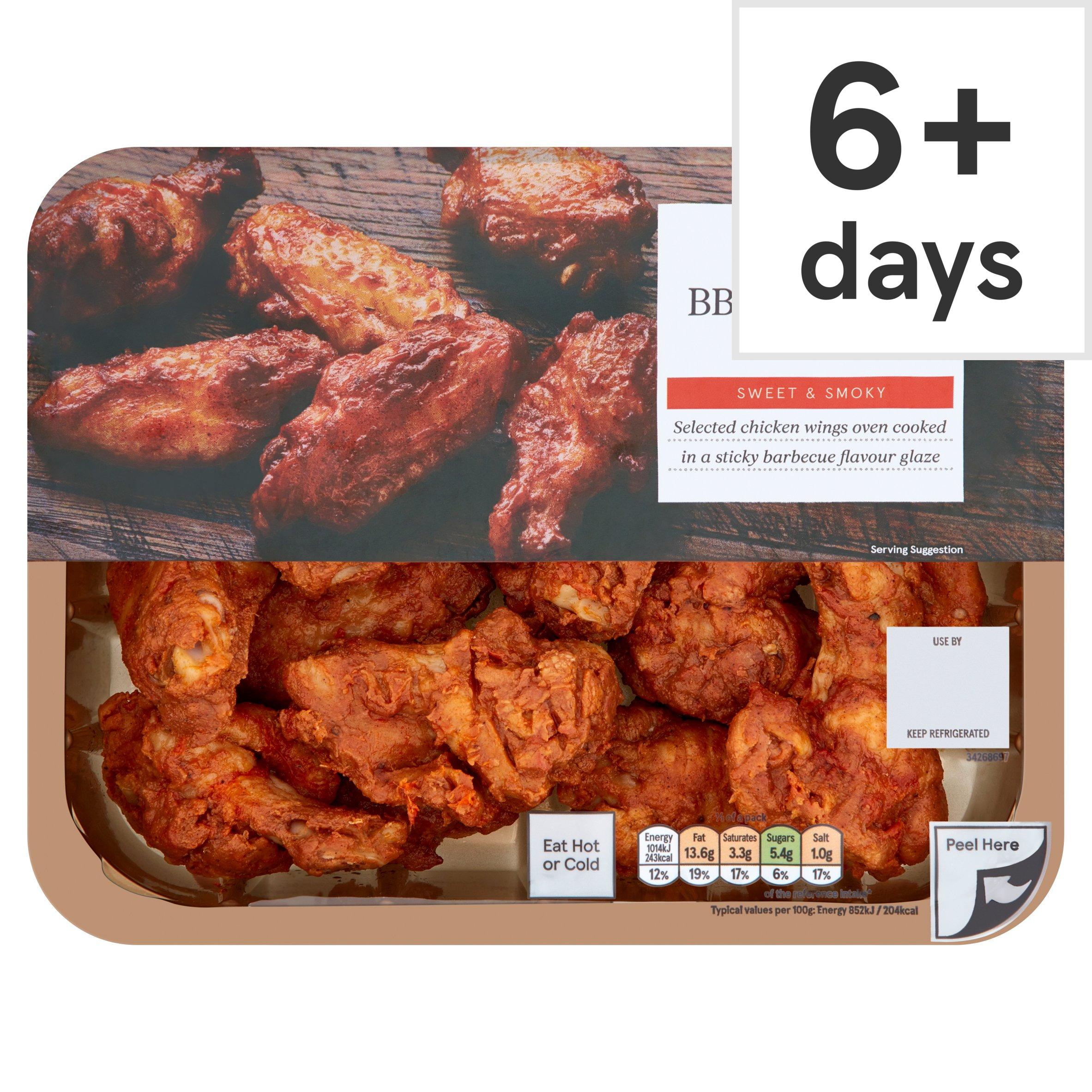 Tesco British Ready To Eat Bbq Roast Chicken Wings 525G