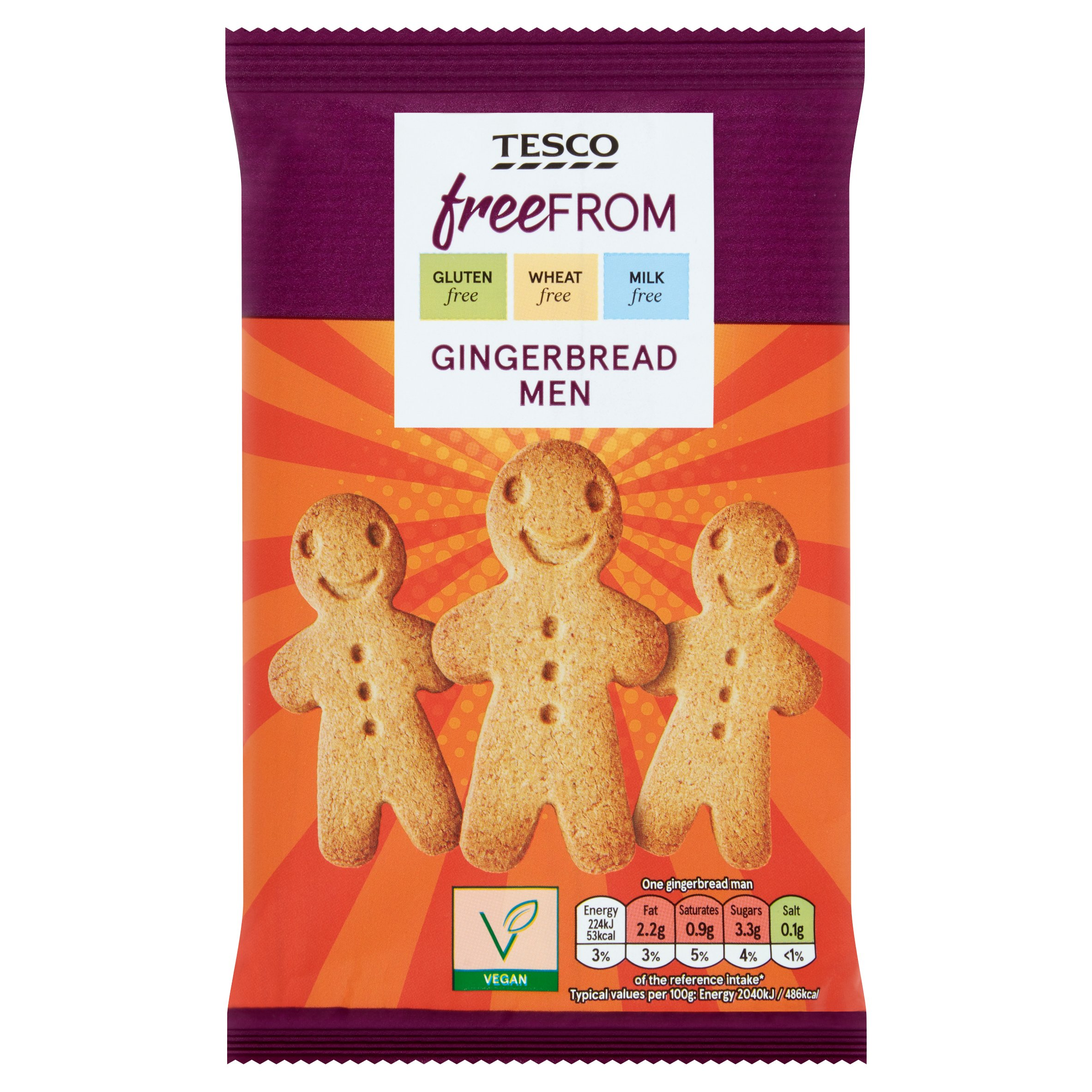 Tesco Free From Gingerbread Men 154G