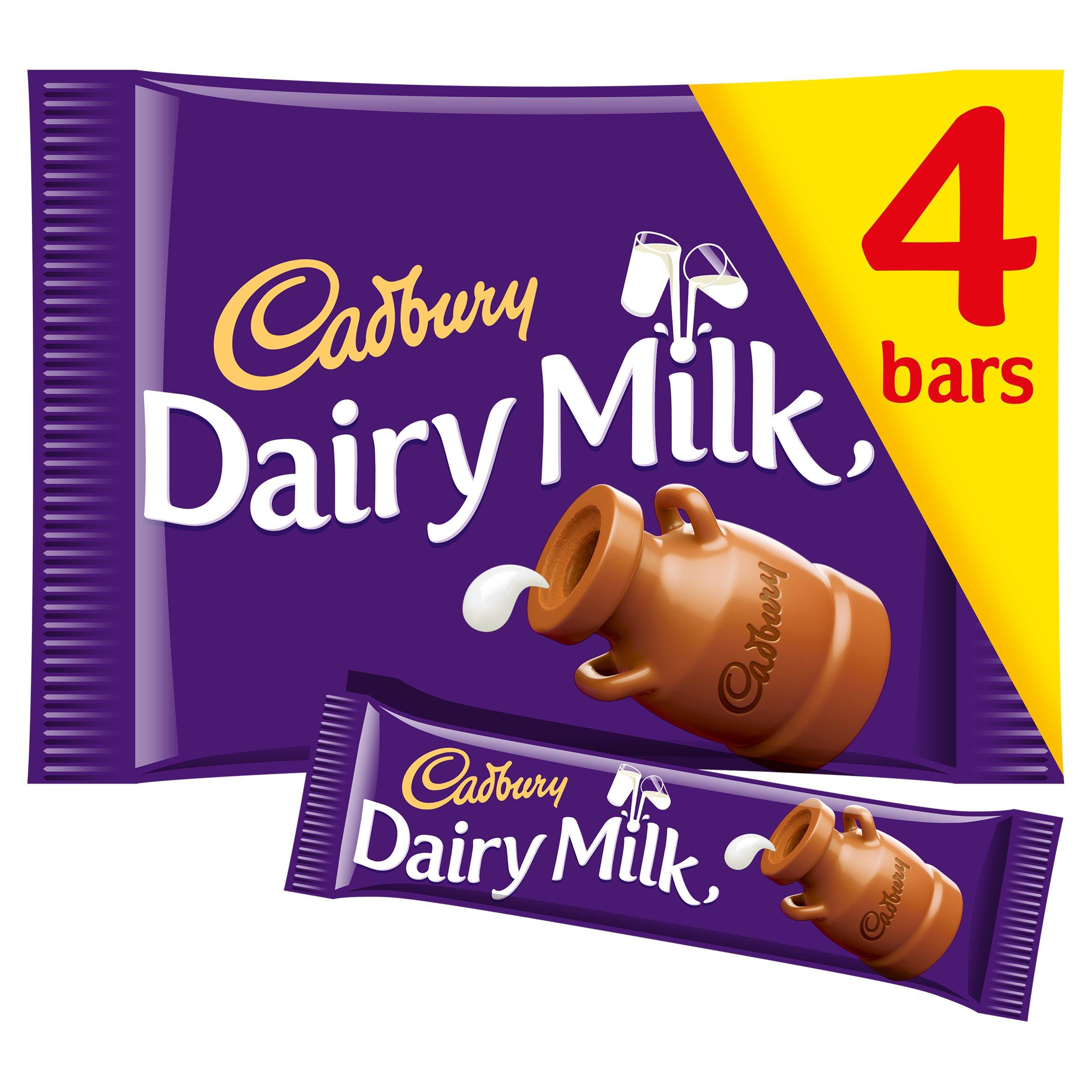image 1 of Cadbury Dairy Milk Chocolate Bars X4 144G