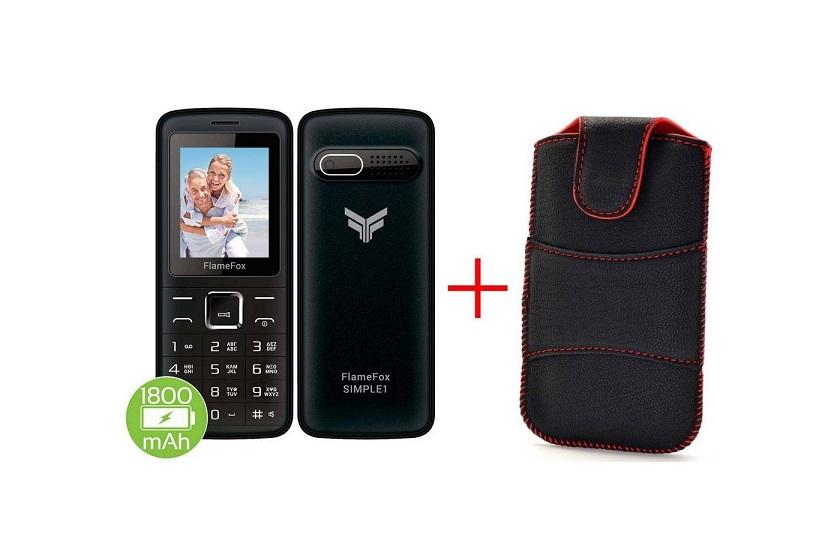 FlameFox Simple1 (Dual Sim) με Bluetooth, Κάμερα, Ραδιόφωνο, Φακό GR + Θήκη