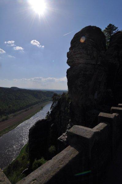 The Elbe River Below The Bastei Bridge in Saxon Switzerland