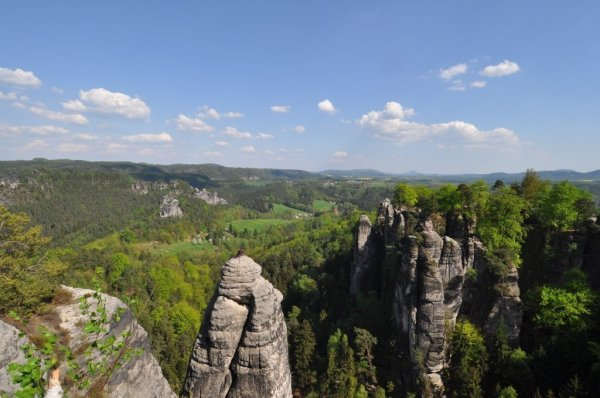 One of many rock climbers in the Elbe Sandstone Mountains