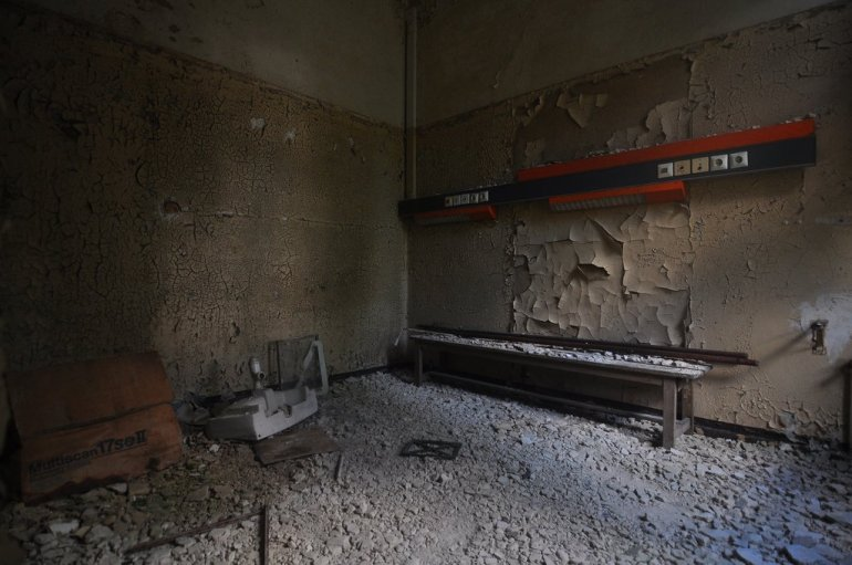 an abandoned dressing room