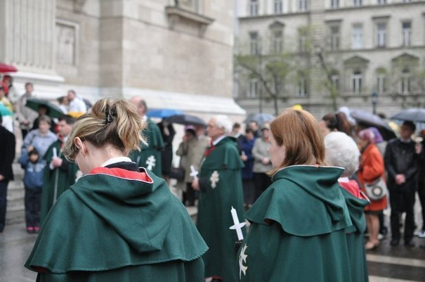 Hungarian Catholics in Robes outside the St Stephens Basilica in Budapest