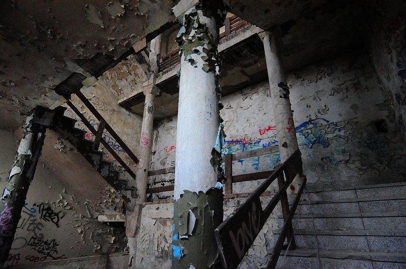 peeling paint in a stairway