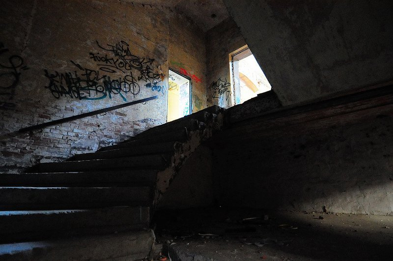 staircase to the first floor in a factory hall